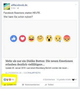 Facebook Reactions gelauncht